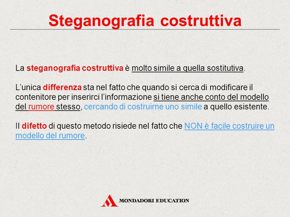 Steganografia costruttiva La steganografia costruttiva è molto simile a quella sostitutiva. L'unica differenza sta nel fatto che quando si cerca di mo