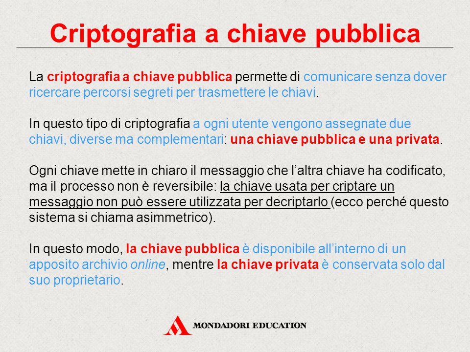 Criptografia a chiave pubblica La criptografia a chiave pubblica permette di comunicare senza dover ricercare percorsi segreti per trasmettere le chia