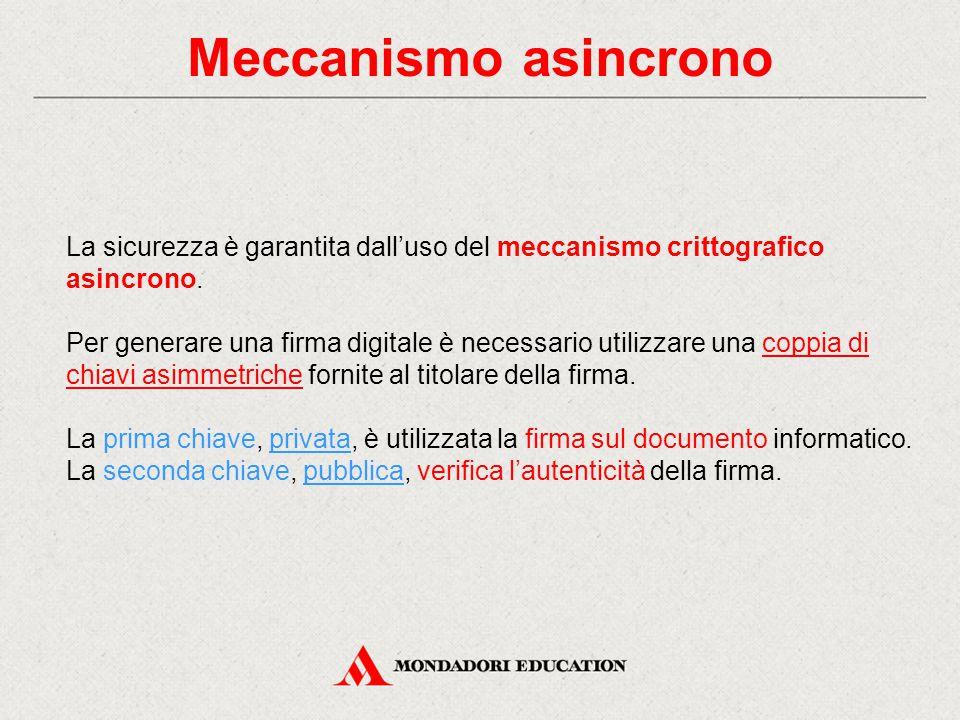 Meccanismo asincrono La sicurezza è garantita dall'uso del meccanismo crittografico asincrono. Per generare una firma digitale è necessario utilizzare