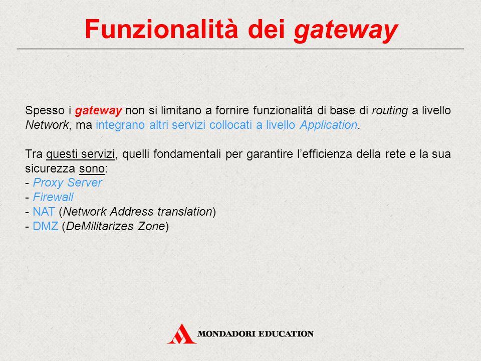 Funzionalità dei gateway Spesso i gateway non si limitano a fornire funzionalità di base di routing a livello Network, ma integrano altri servizi coll