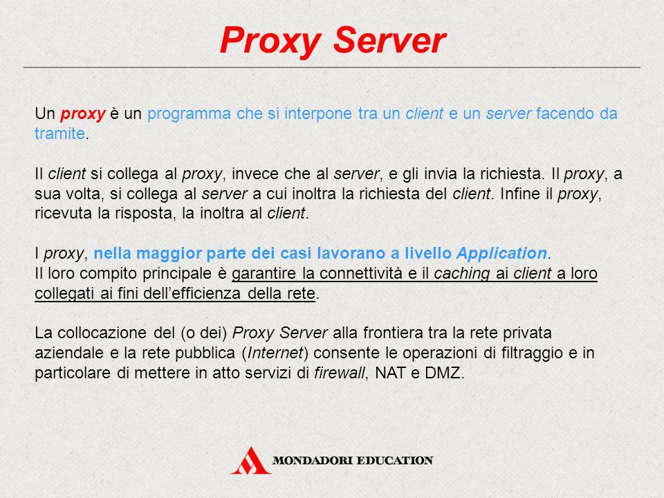 Proxy Server Un proxy è un programma che si interpone tra un client e un server facendo da tramite. Il client si collega al proxy, invece che al serve