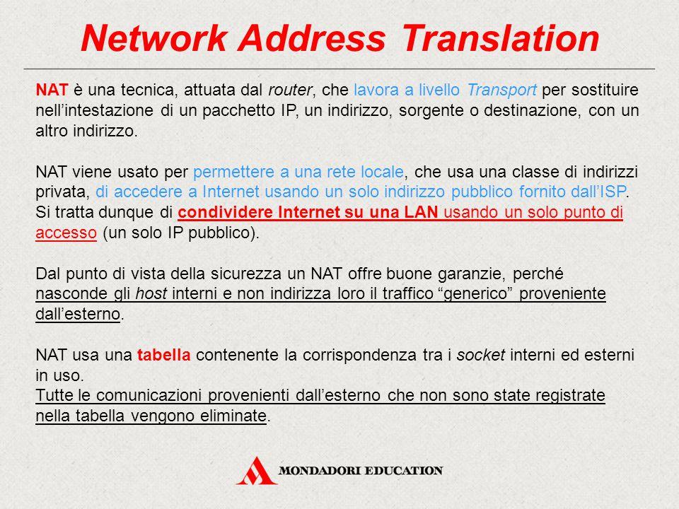 Network Address Translation NAT è una tecnica, attuata dal router, che lavora a livello Transport per sostituire nell'intestazione di un pacchetto IP,
