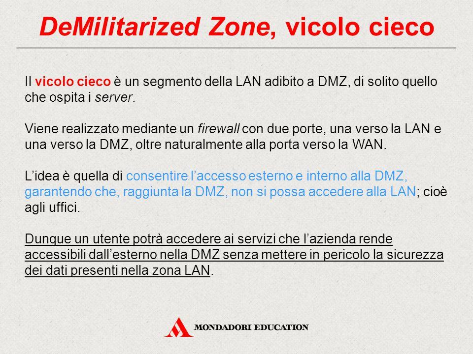 DeMilitarized Zone, vicolo cieco Il vicolo cieco è un segmento della LAN adibito a DMZ, di solito quello che ospita i server. Viene realizzato mediant