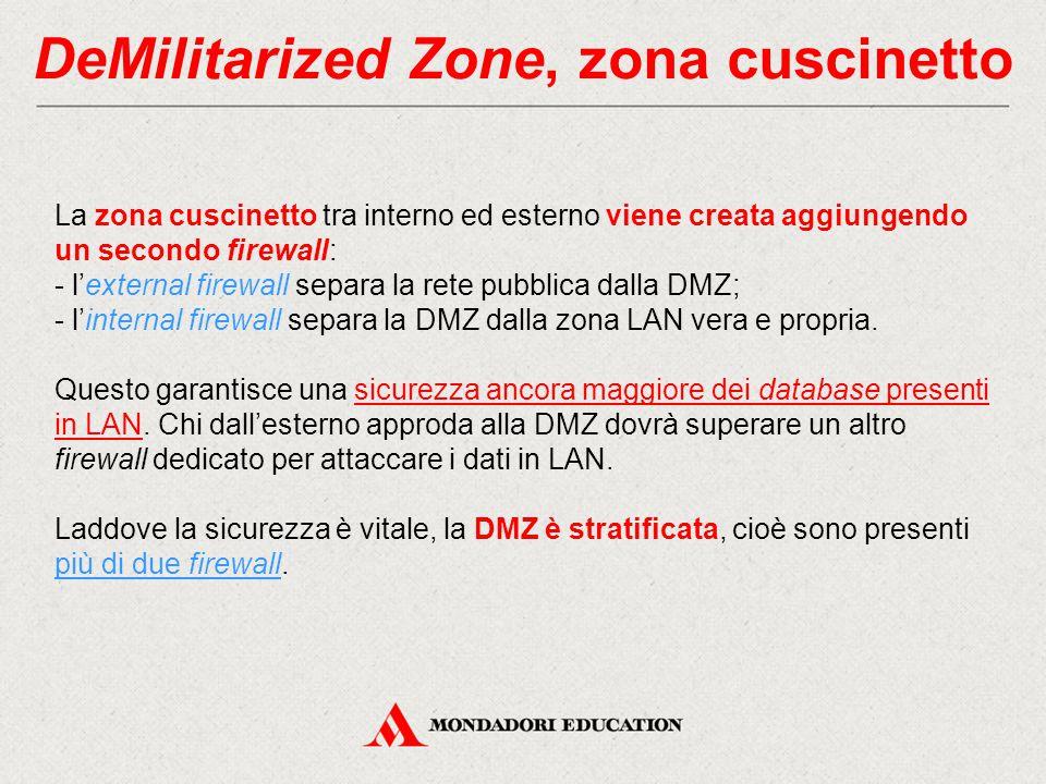 DeMilitarized Zone, zona cuscinetto La zona cuscinetto tra interno ed esterno viene creata aggiungendo un secondo firewall: - l'external firewall sepa