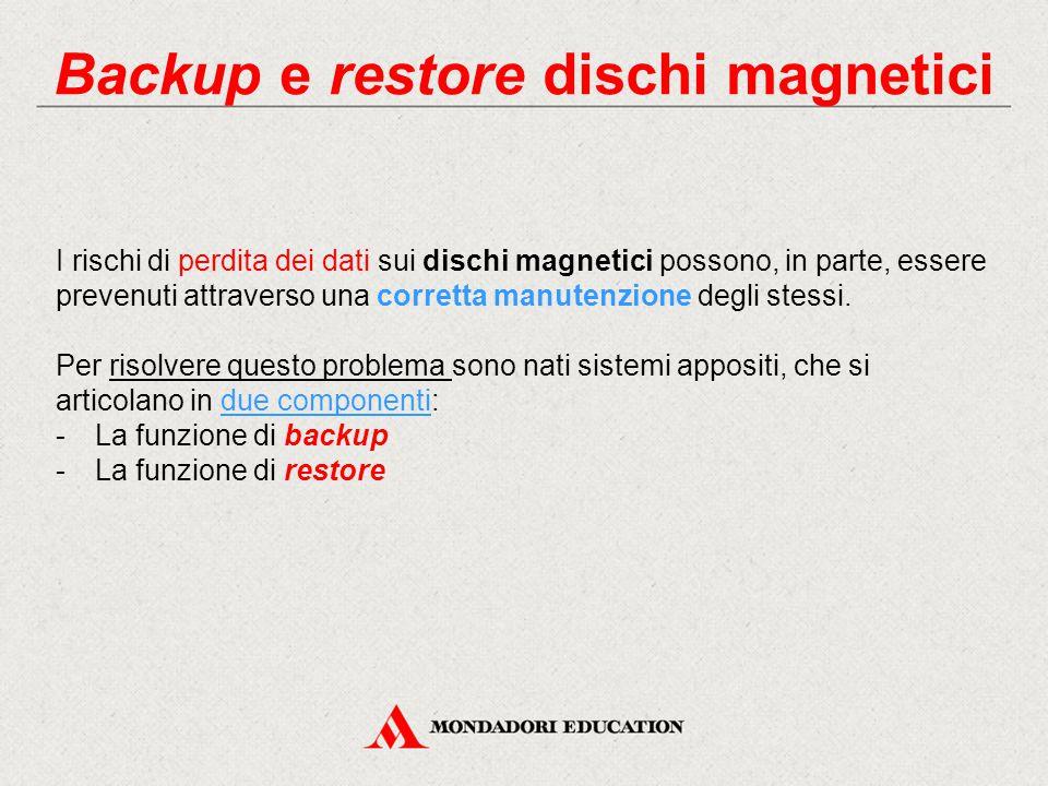 Backup e restore dischi magnetici I rischi di perdita dei dati sui dischi magnetici possono, in parte, essere prevenuti attraverso una corretta manute