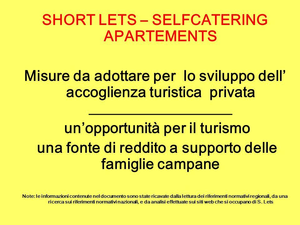 Cosa si intende per Short Lets (Soggiorno Breve) Si tratta di una nuova forma di accoglienza al limite tra la locazione breve e il soggiorno turistico, di tipo occasionale e saltuario (molto diffusa all'estero) che si sta affermando anche in Italia.