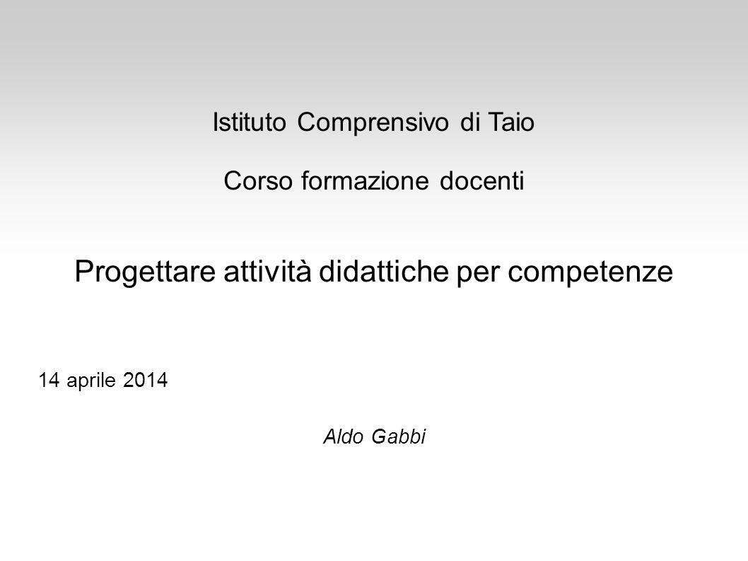 Istituto Comprensivo di Taio Corso formazione docenti Progettare attività didattiche per competenze 14 aprile 2014 Aldo Gabbi