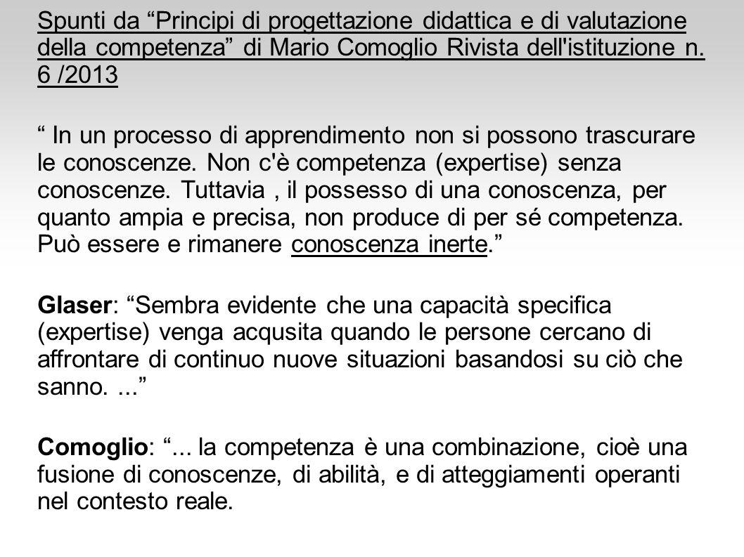 """Spunti da """"Principi di progettazione didattica e di valutazione della competenza"""" di Mario Comoglio Rivista dell'istituzione n. 6 /2013 """" In un proces"""
