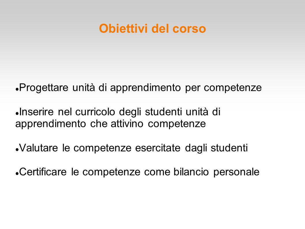 Obiettivi del corso Progettare unità di apprendimento per competenze Inserire nel curricolo degli studenti unità di apprendimento che attivino compete