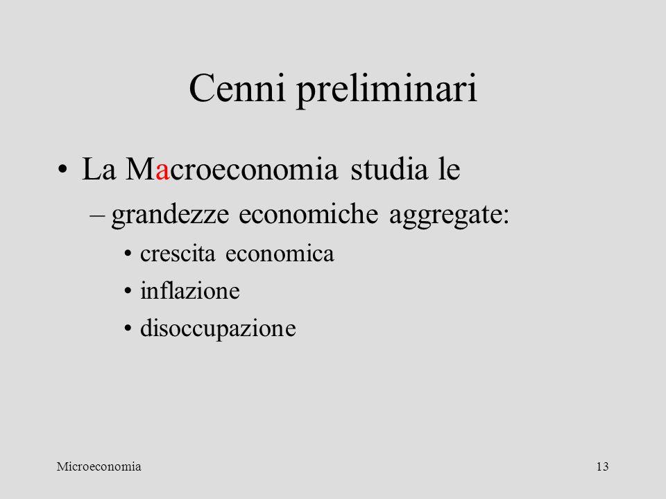 Microeconomia13 Cenni preliminari La Macroeconomia studia le –grandezze economiche aggregate: crescita economica inflazione disoccupazione