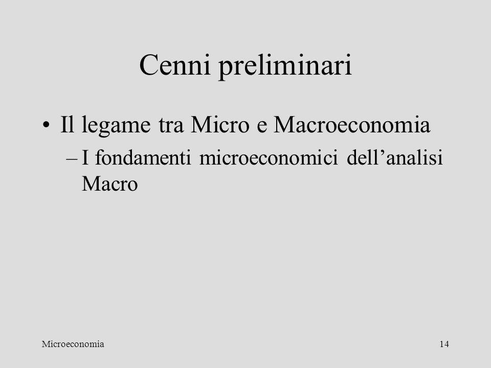 Microeconomia14 Cenni preliminari Il legame tra Micro e Macroeconomia –I fondamenti microeconomici dell'analisi Macro