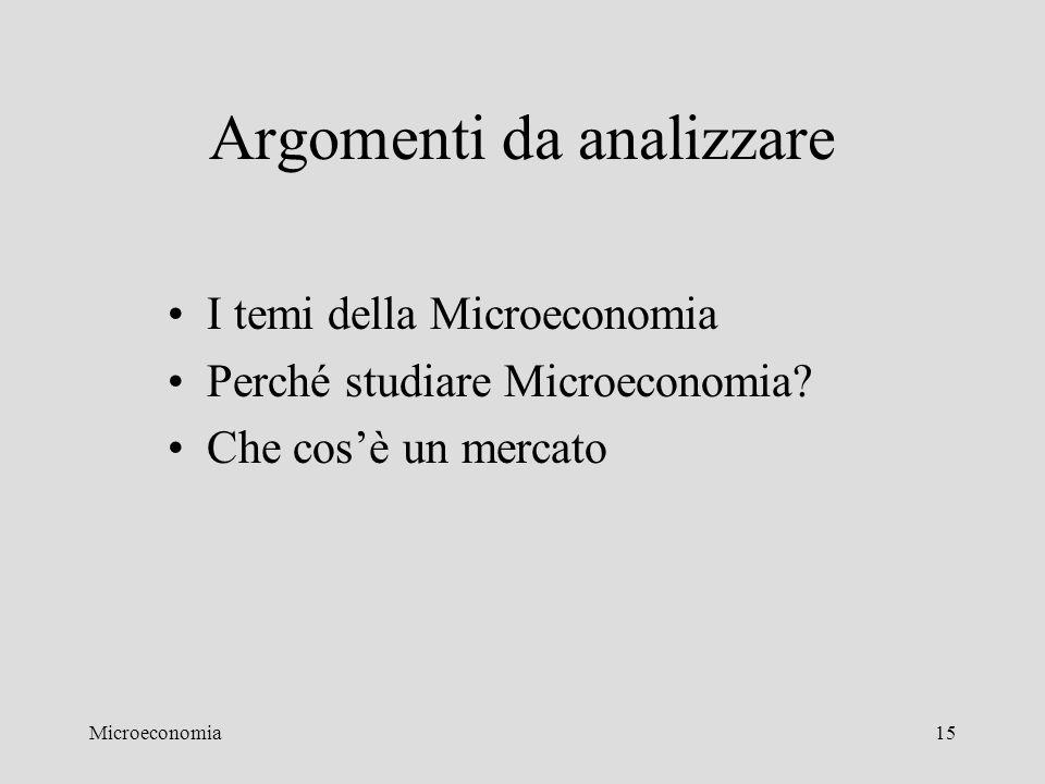 Microeconomia15 Argomenti da analizzare I temi della Microeconomia Perché studiare Microeconomia? Che cos'è un mercato