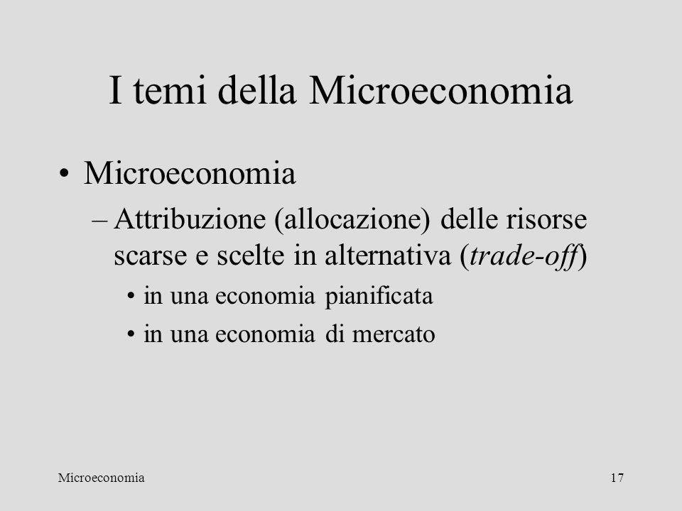 Microeconomia17 I temi della Microeconomia Microeconomia –Attribuzione (allocazione) delle risorse scarse e scelte in alternativa (trade-off) in una e