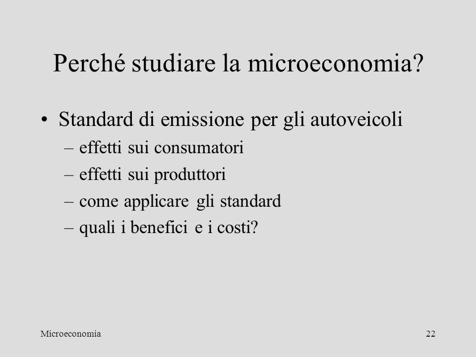 Microeconomia22 Perché studiare la microeconomia? Standard di emissione per gli autoveicoli –effetti sui consumatori –effetti sui produttori –come app