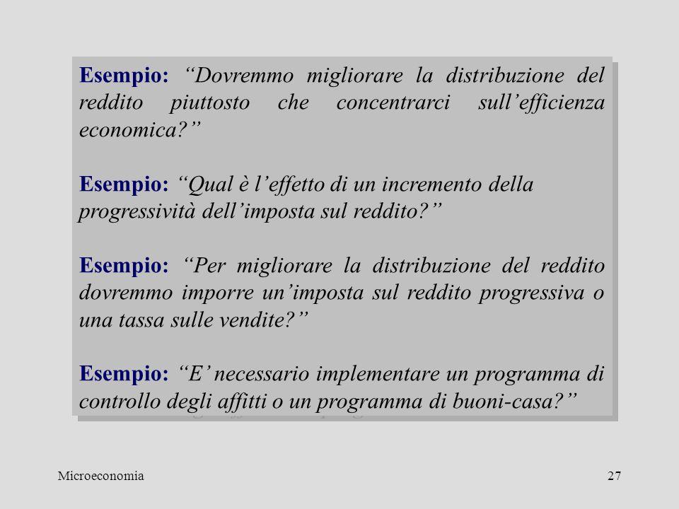 """Microeconomia27 Esempio: """"Dovremmo migliorare la distribuzione del reddito piuttosto che concentrarci sull'efficienza economica?"""" Esempio: """"Qual è l'e"""