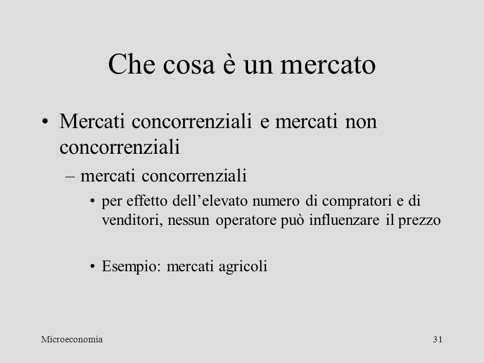 Microeconomia31 Che cosa è un mercato Mercati concorrenziali e mercati non concorrenziali –mercati concorrenziali per effetto dell'elevato numero di c