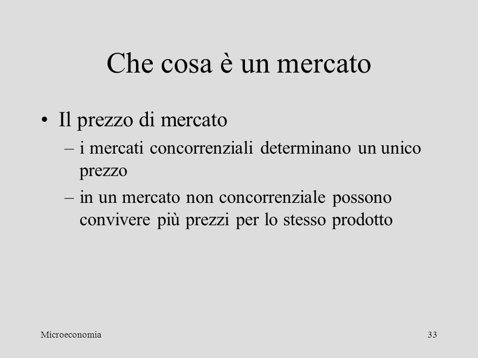 Microeconomia33 Che cosa è un mercato Il prezzo di mercato –i mercati concorrenziali determinano un unico prezzo –in un mercato non concorrenziale pos