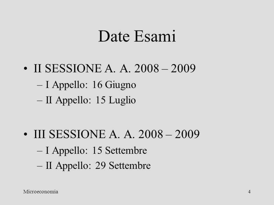 Microeconomia4 Date Esami II SESSIONE A. A. 2008 – 2009 –I Appello: 16 Giugno –II Appello: 15 Luglio III SESSIONE A. A. 2008 – 2009 –I Appello: 15 Set