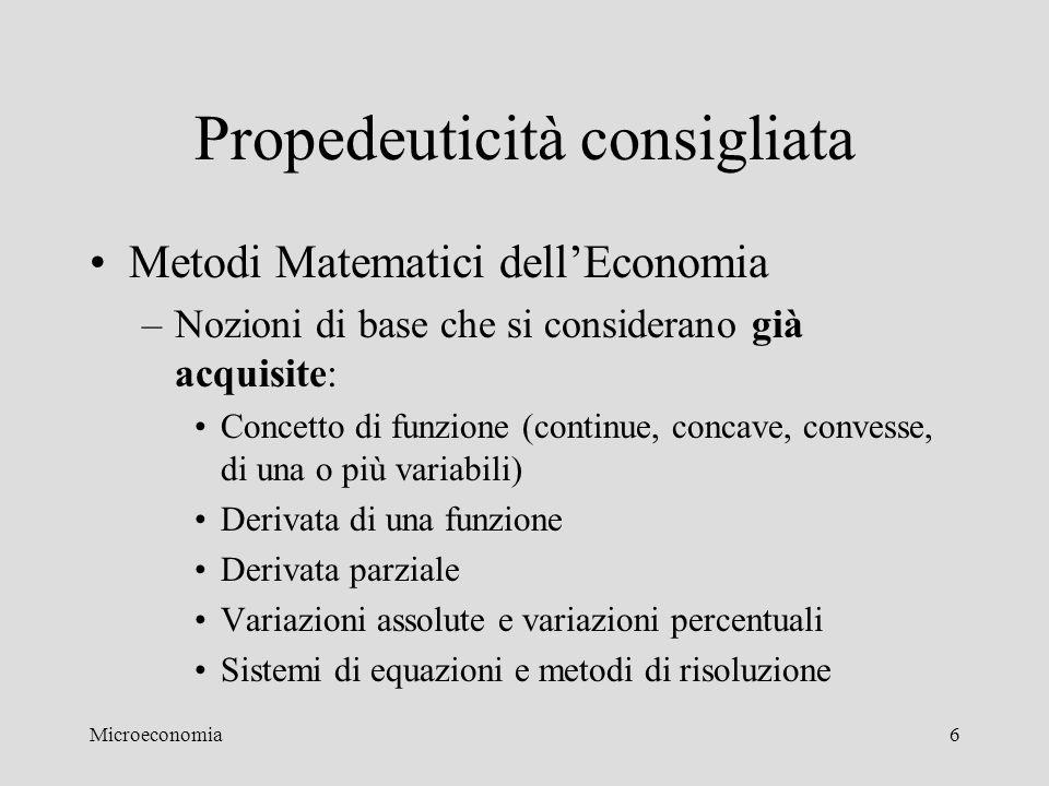 Microeconomia6 Propedeuticità consigliata Metodi Matematici dell'Economia –Nozioni di base che si considerano già acquisite: Concetto di funzione (con