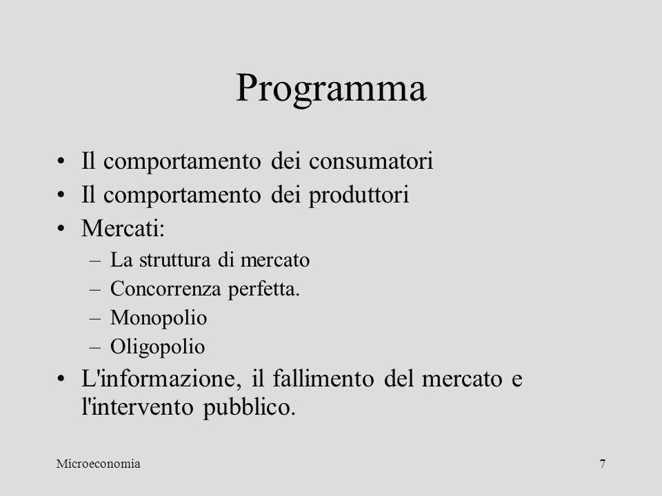 Microeconomia7 Programma Il comportamento dei consumatori Il comportamento dei produttori Mercati: –La struttura di mercato –Concorrenza perfetta. –Mo