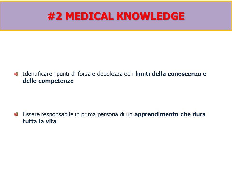 Identificare i punti di forza e debolezza ed i limiti della conoscenza e delle competenze Essere responsabile in prima persona di un apprendimento che dura tutta la vita #2 MEDICAL KNOWLEDGE