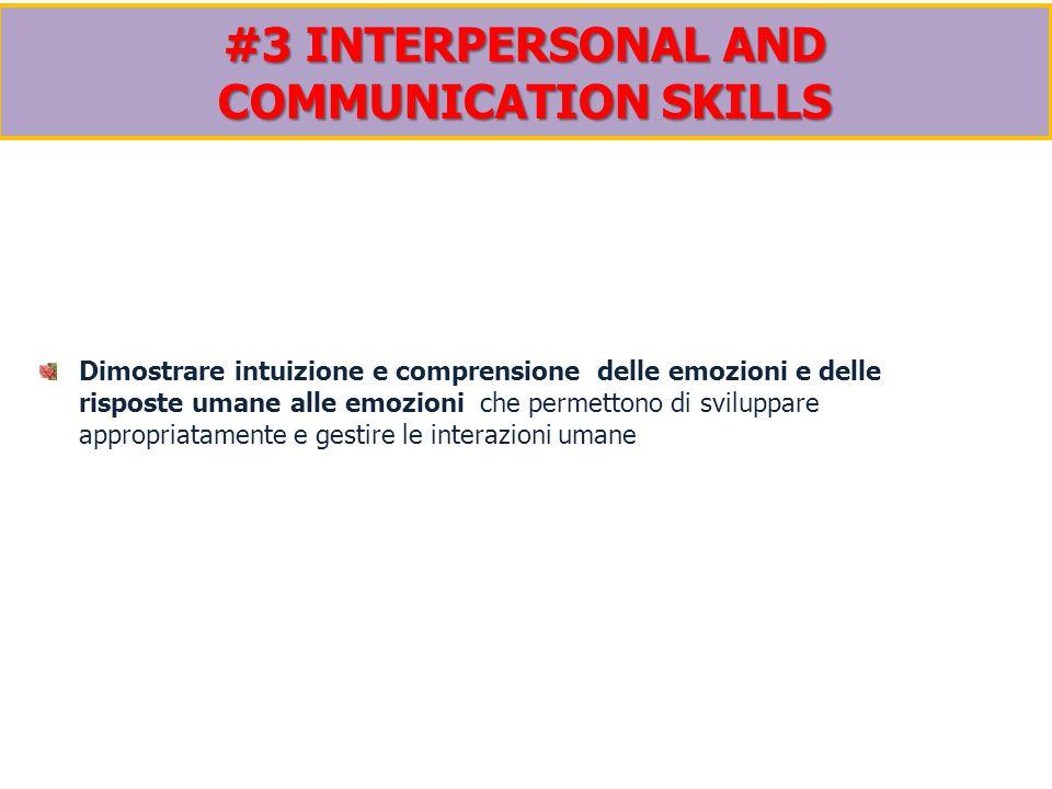 Dimostrare intuizione e comprensione delle emozioni e delle risposte umane alle emozioni che permettono di sviluppare appropriatamente e gestire le interazioni umane #3 INTERPERSONAL AND COMMUNICATION SKILLS