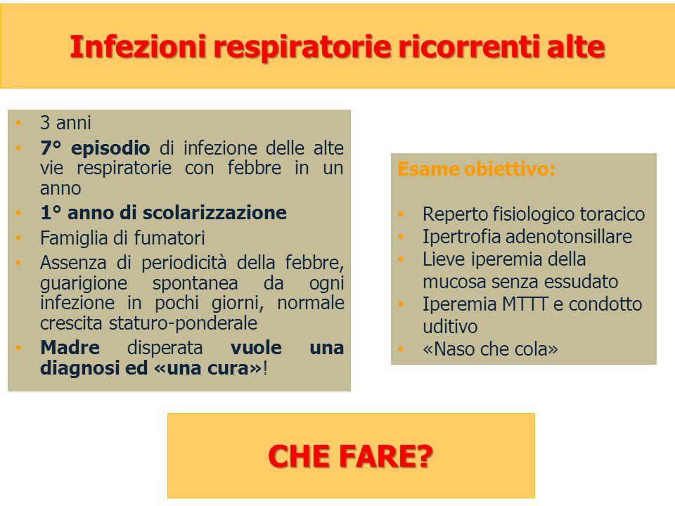 Infezioni respiratorie ricorrenti alte 3 anni 7° episodio di infezione delle alte vie respiratorie con febbre in un anno 1° anno di scolarizzazione Fa