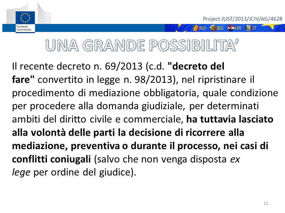 Project JUST/2013/JCIV/AG/4628 12 Il recente decreto n.