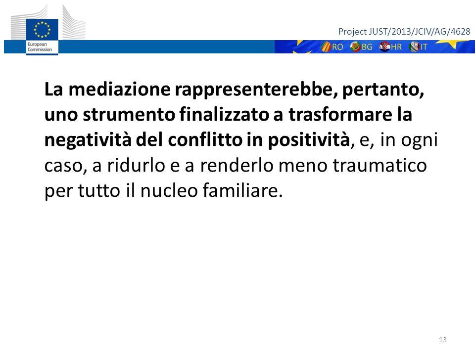 Project JUST/2013/JCIV/AG/4628 13 La mediazione rappresenterebbe, pertanto, uno strumento finalizzato a trasformare la negatività del conflitto in pos