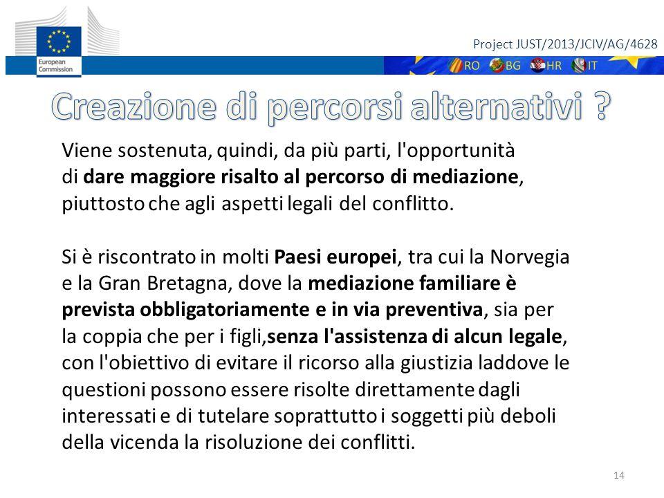 Project JUST/2013/JCIV/AG/4628 14 Viene sostenuta, quindi, da più parti, l'opportunità di dare maggiore risalto al percorso di mediazione, piuttosto c