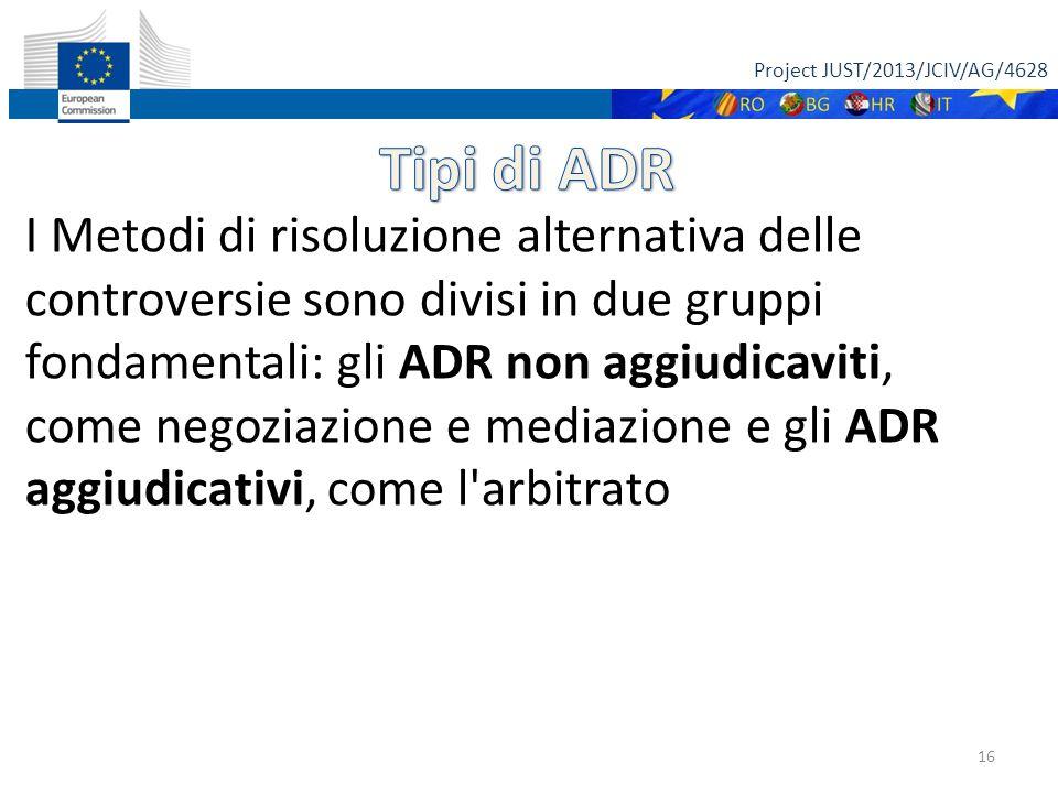 Project JUST/2013/JCIV/AG/4628 16 I Metodi di risoluzione alternativa delle controversie sono divisi in due gruppi fondamentali: gli ADR non aggiudica