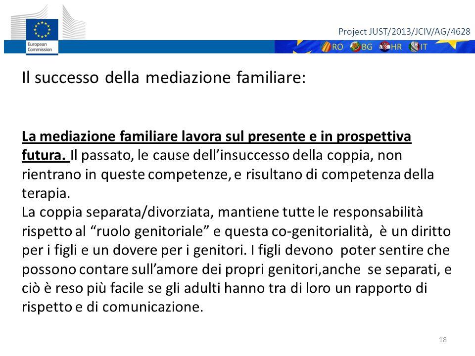 Project JUST/2013/JCIV/AG/4628 18 Il successo della mediazione familiare: La mediazione familiare lavora sul presente e in prospettiva futura. Il pass