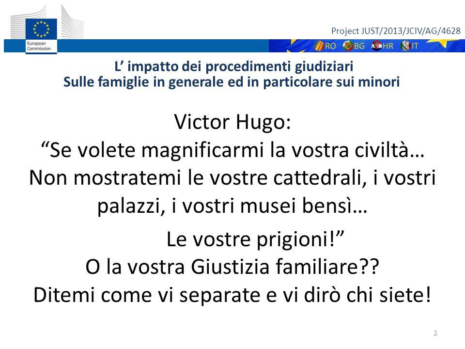 """Project JUST/2013/JCIV/AG/4628 L' impatto dei procedimenti giudiziari Sulle famiglie in generale ed in particolare sui minori Victor Hugo: """"Se volete"""
