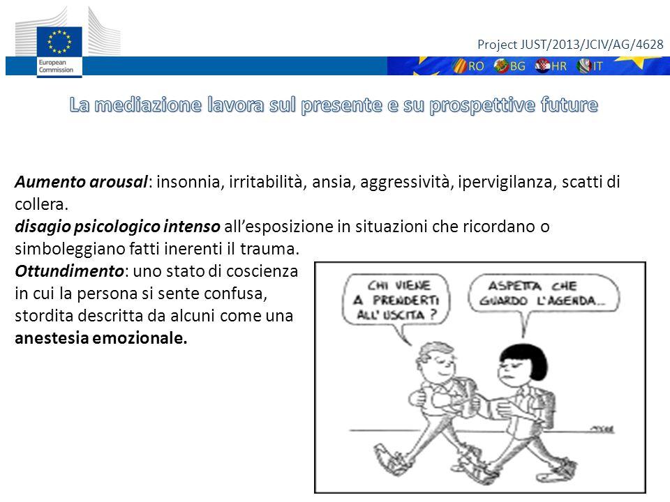Project JUST/2013/JCIV/AG/4628 22 Aumento arousal: insonnia, irritabilità, ansia, aggressività, ipervigilanza, scatti di collera. disagio psicologico