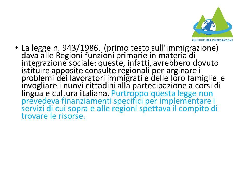 La legge n. 943/1986, (primo testo sull'immigrazione) dava alle Regioni funzioni primarie in materia di integrazione sociale: queste, infatti, avrebbe