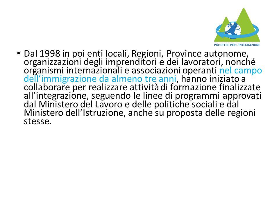 Dal 1998 in poi enti locali, Regioni, Province autonome, organizzazioni degli imprenditori e dei lavoratori, nonché organismi internazionali e associa