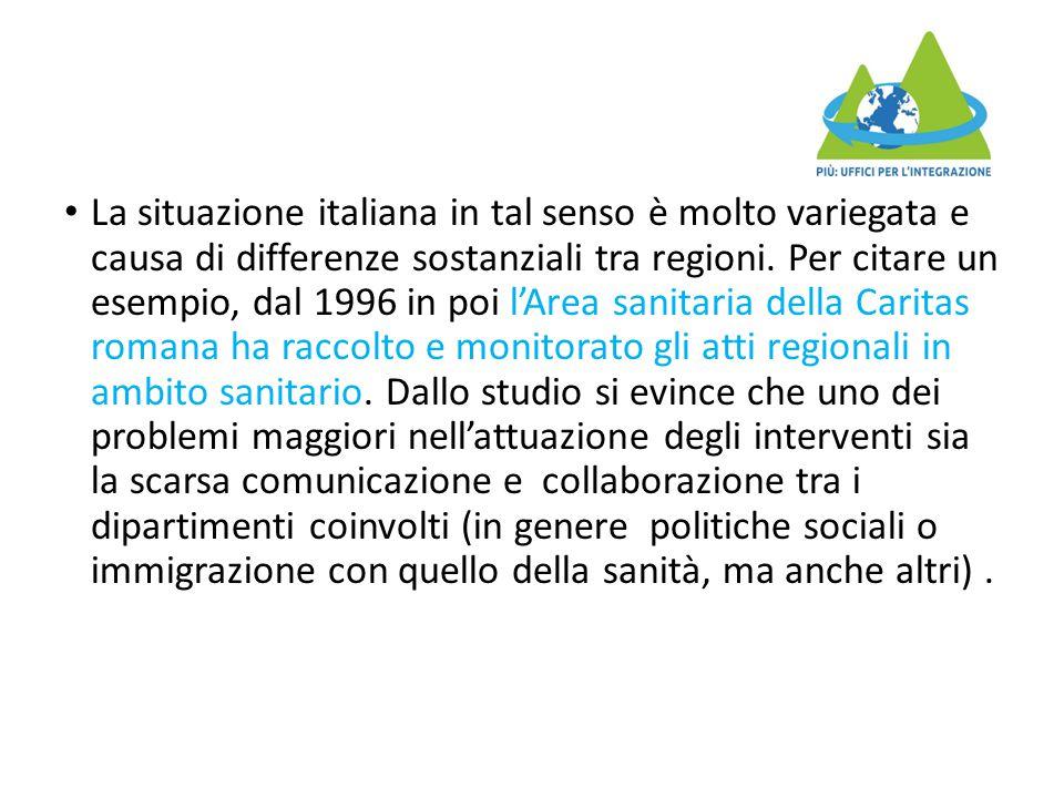 La situazione italiana in tal senso è molto variegata e causa di differenze sostanziali tra regioni. Per citare un esempio, dal 1996 in poi l'Area san