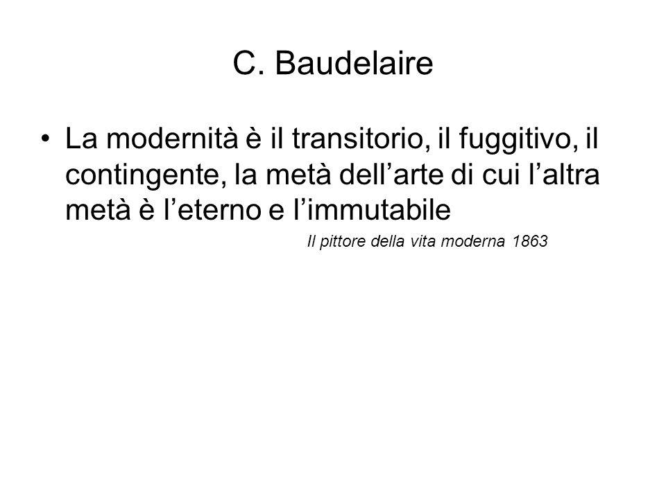 C. Baudelaire La modernità è il transitorio, il fuggitivo, il contingente, la metà dell'arte di cui l'altra metà è l'eterno e l'immutabile Il pittore