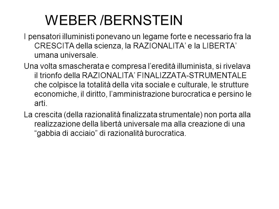 WEBER /BERNSTEIN I pensatori illuministi ponevano un legame forte e necessario fra la CRESCITA della scienza, la RAZIONALITA' e la LIBERTA' umana universale.