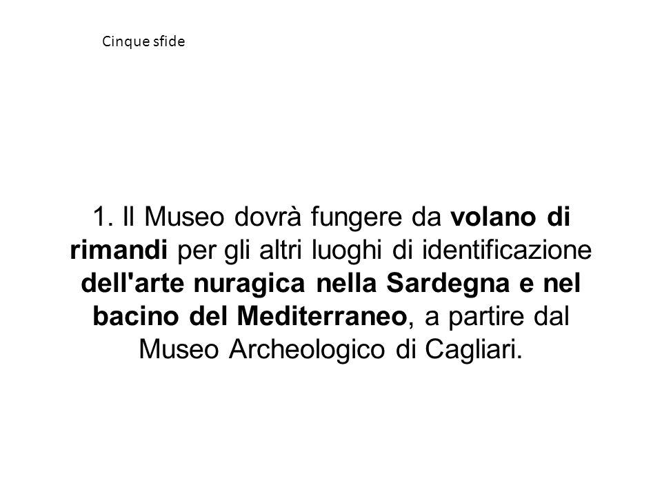 1. Il Museo dovrà fungere da volano di rimandi per gli altri luoghi di identificazione dell'arte nuragica nella Sardegna e nel bacino del Mediterraneo