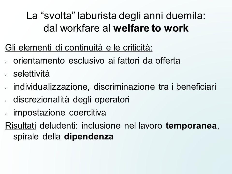 """La """"svolta"""" laburista degli anni duemila: dal workfare al welfare to work Gli elementi di continuità e le criticità: orientamento esclusivo ai fattori"""