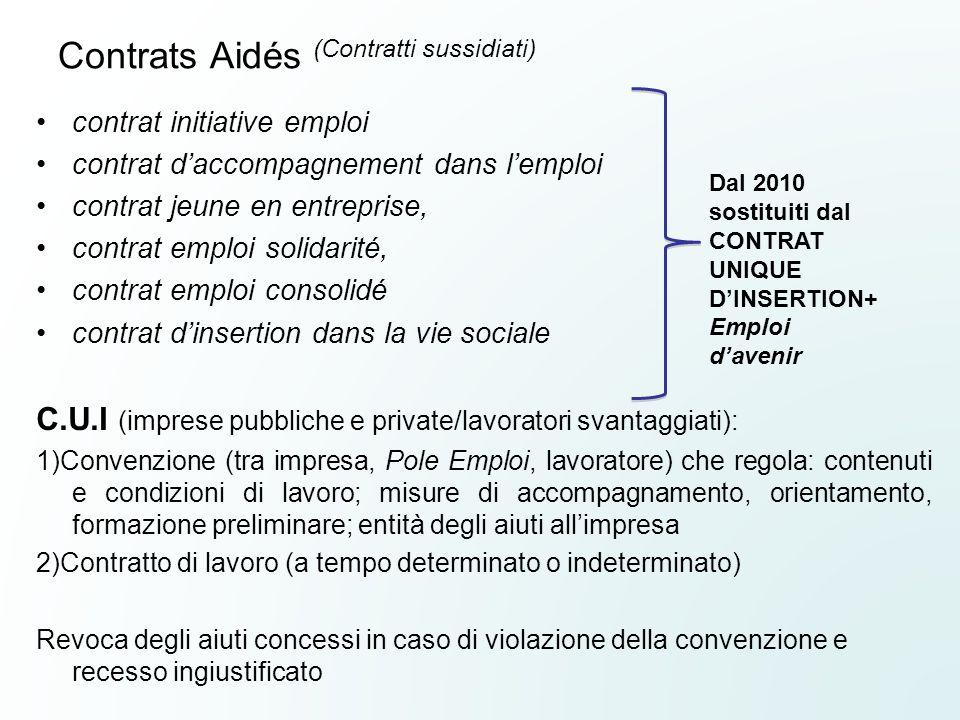 Contrats Aidés (Contratti sussidiati) contrat initiative emploi contrat d'accompagnement dans l'emploi contrat jeune en entreprise, contrat emploi sol