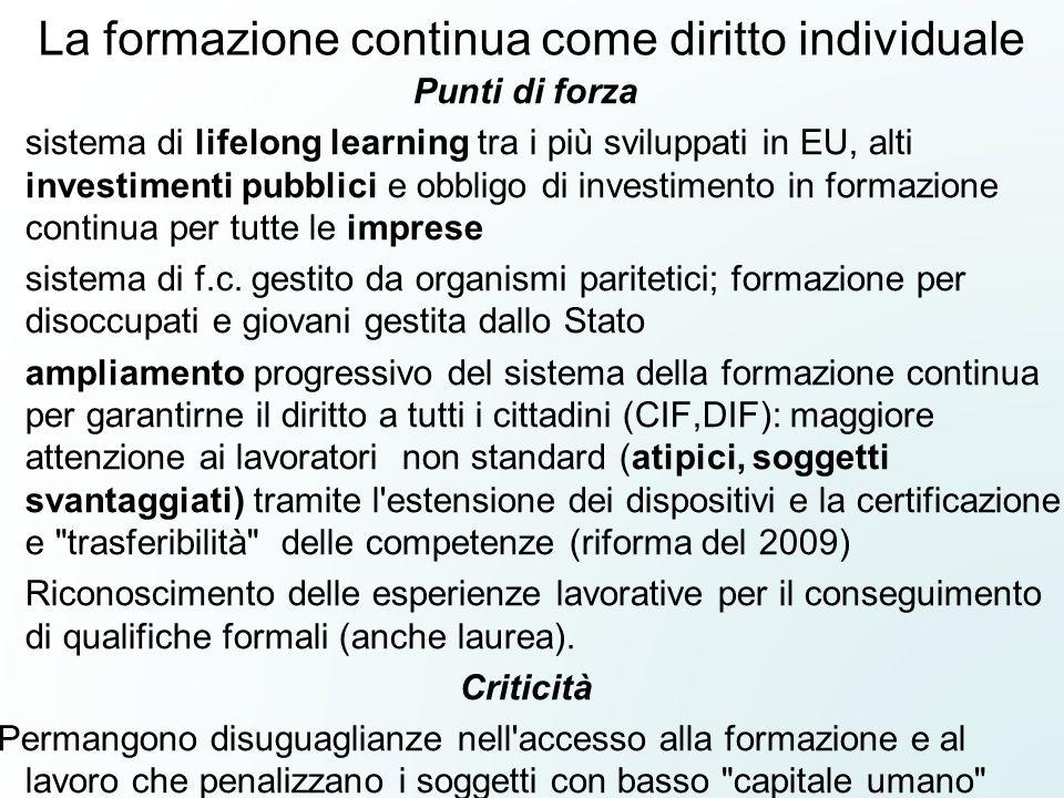 La formazione continua come diritto individuale Punti di forza sistema di lifelong learning tra i più sviluppati in EU, alti investimenti pubblici e o