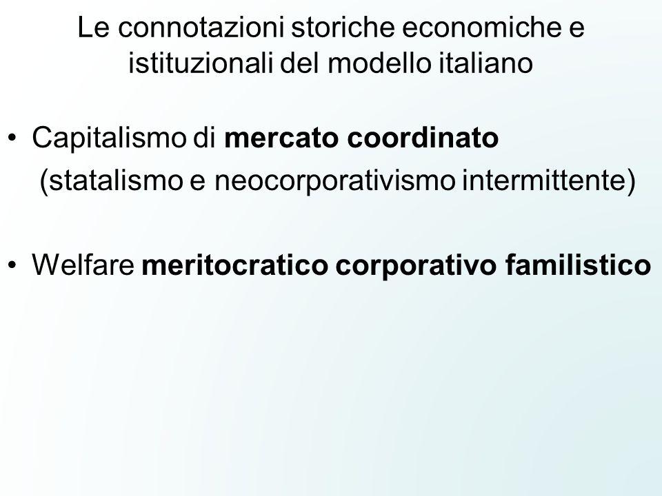 Le connotazioni storiche economiche e istituzionali del modello italiano Capitalismo di mercato coordinato (statalismo e neocorporativismo intermitten
