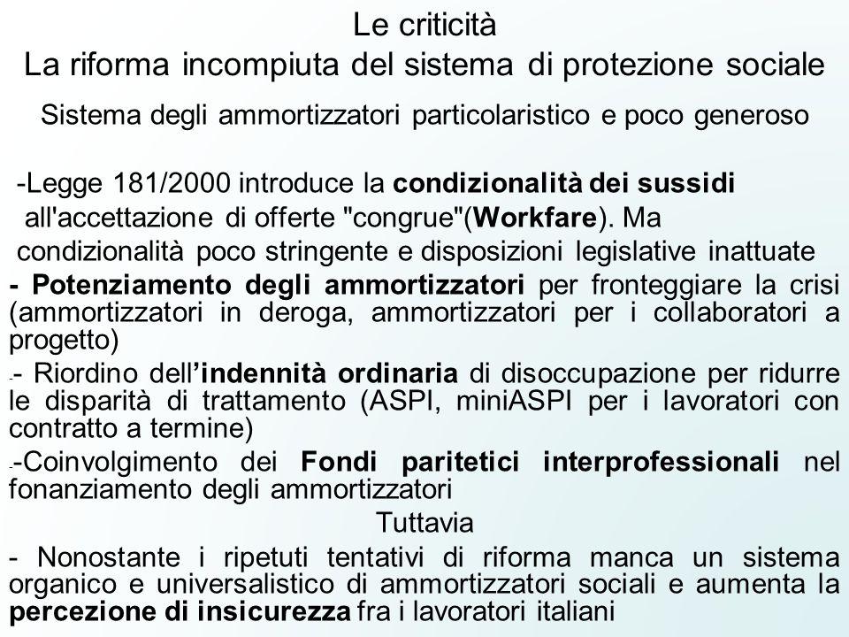 Le criticità La riforma incompiuta del sistema di protezione sociale Sistema degli ammortizzatori particolaristico e poco generoso -Legge 181/2000 int