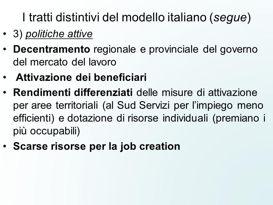 I tratti distintivi del modello italiano (segue) 3) politiche attive Decentramento regionale e provinciale del governo del mercato del lavoro Attivazi