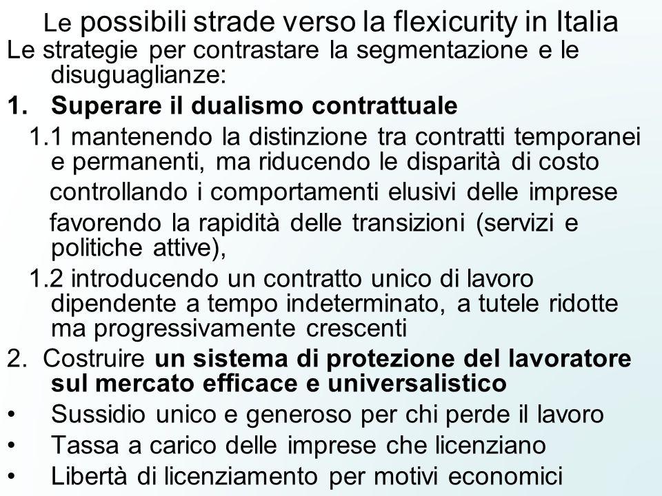 Le possibili strade verso la flexicurity in Italia Le strategie per contrastare la segmentazione e le disuguaglianze: 1.Superare il dualismo contrattu