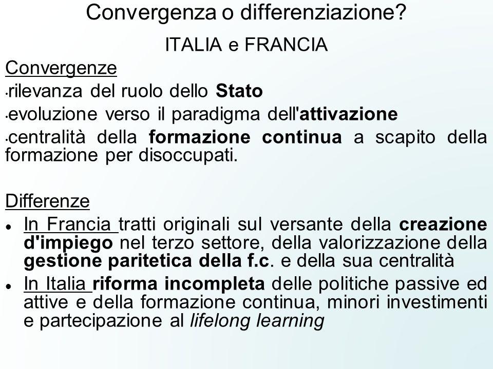 Convergenza o differenziazione? ITALIA e FRANCIA Convergenze rilevanza del ruolo dello Stato evoluzione verso il paradigma dell'attivazione centralità