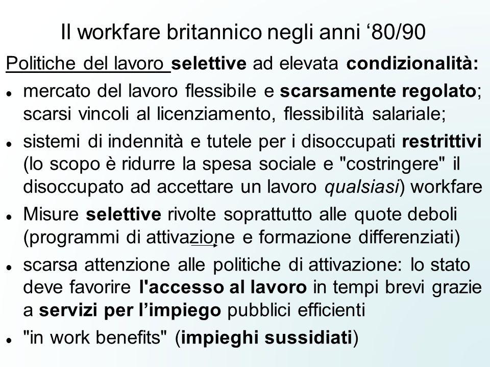 Il workfare britannico negli anni '80/90 Politiche del lavoro selettive ad elevata condizionalità: mercato del lavoro flessibile e scarsamente regolat