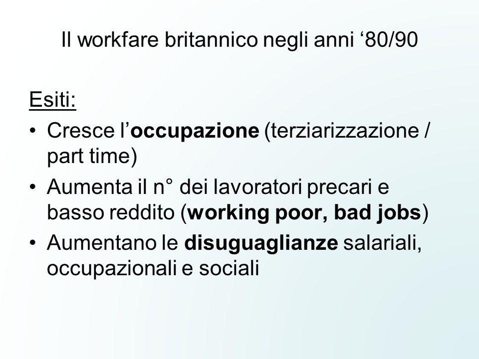 Il workfare britannico negli anni '80/90 Esiti: Cresce l'occupazione (terziarizzazione / part time) Aumenta il n° dei lavoratori precari e basso reddi